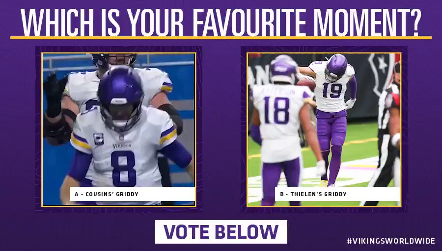 Vote below which griddy was your favourite! 🏆  A -  @KirkCousins8's griddy against the Lions 🤩  B - @athielen19's griddy against the Texans 🕺