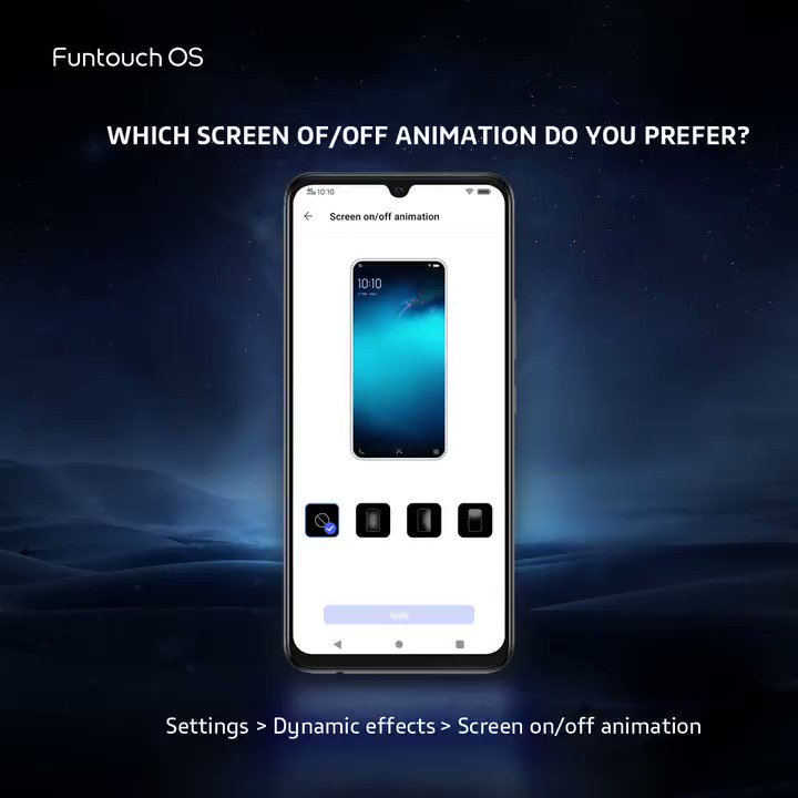 When you turn on/off screen, not only you see just a blink, activate the dynamic effects and see some awesome magics 👏 Which one do you prefer? 📍Simply #RT & reply to win! 🎁Theme Redeem Code: 3 lucky winners will be chosen at random! #vivo #FuntouchOS #dynamiceffect  #vivoV20