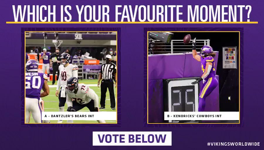 Which moment has your vote? 🤔  A - @camdantzler3's flying INT against the Bears 🙌  B - @EricKendricks54's diving INT against the Cowboys 😈