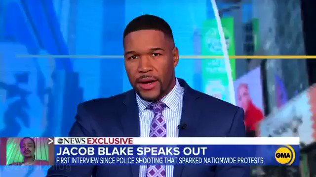 """#JacobBlake speaks for the first time on """"Good Morning America"""" since he was shot 7 times by the police.🙏🏿🙏🏿"""