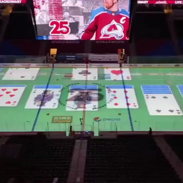 The Avs arena operator really busting out some on-ice solitaire to kill time before the start of the game 😅   (we miss you fans 😢)