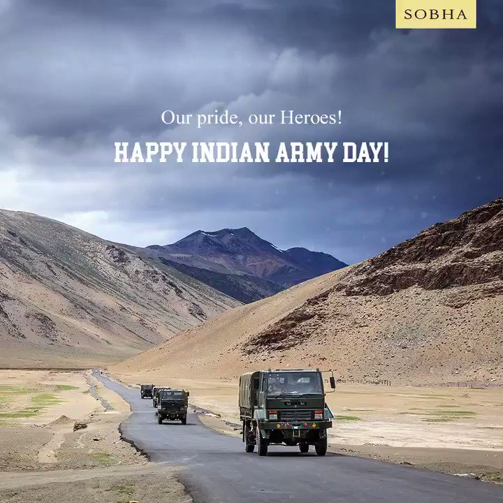Indian Army Day always reminds us of all our heroes who stand strong to keep us safe. Happy Indian Army Day!  #IndianArmyDay #India #Indian #ArmyDay #Army #Military #MilitaryForces #Force #Power #Nation #Patriotism #Heroes #Fighter #SOBHA