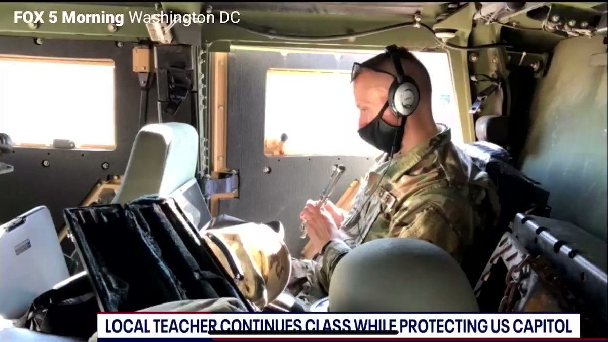 "This National Guardsman is still teaching his Fairfax County students while protecting Washington DC. ""Some kids are shocked at the uniform but we talk through it"""