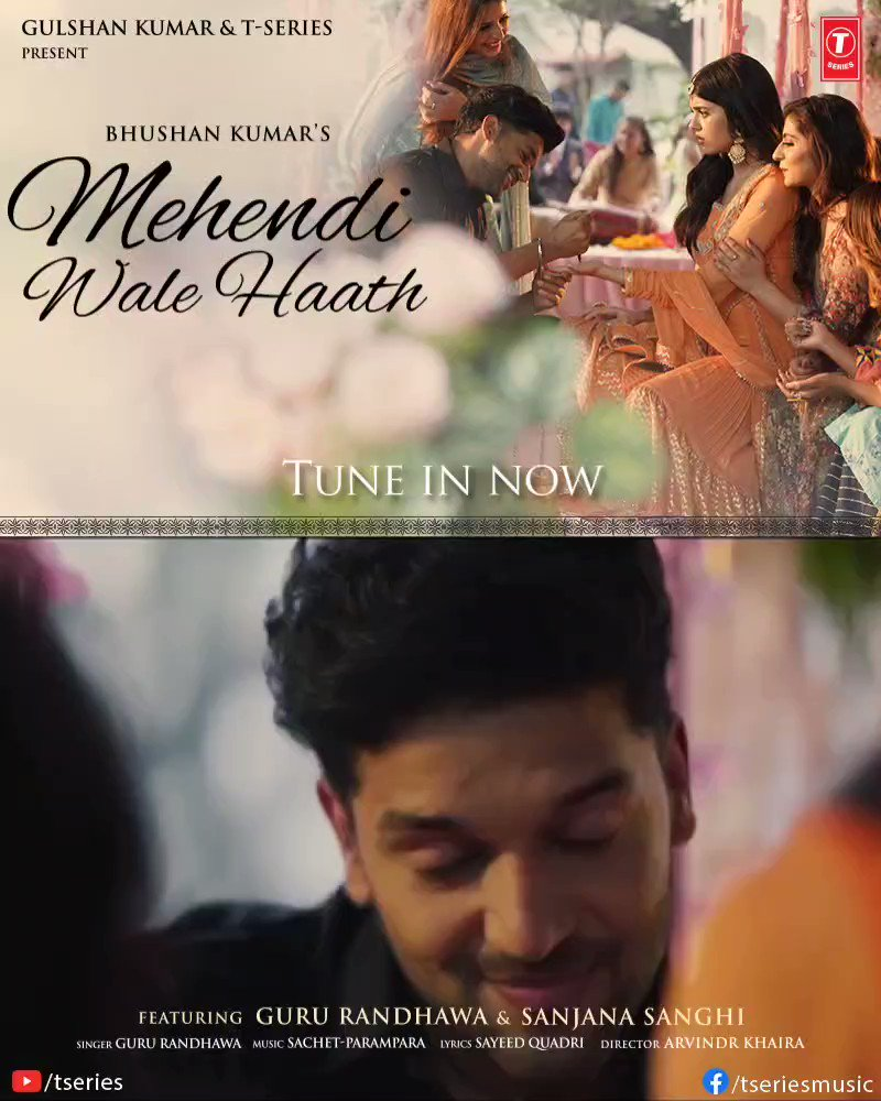 Divided by distance but united by love. Our musical tale continues to top all charts. #MehendiWaleHaath is now trending on all major platforms in just 1 day! Tune in now:   #tseries #BhushanKumar @GuruOfficial @sanjanasanghi96 @SachetParampara