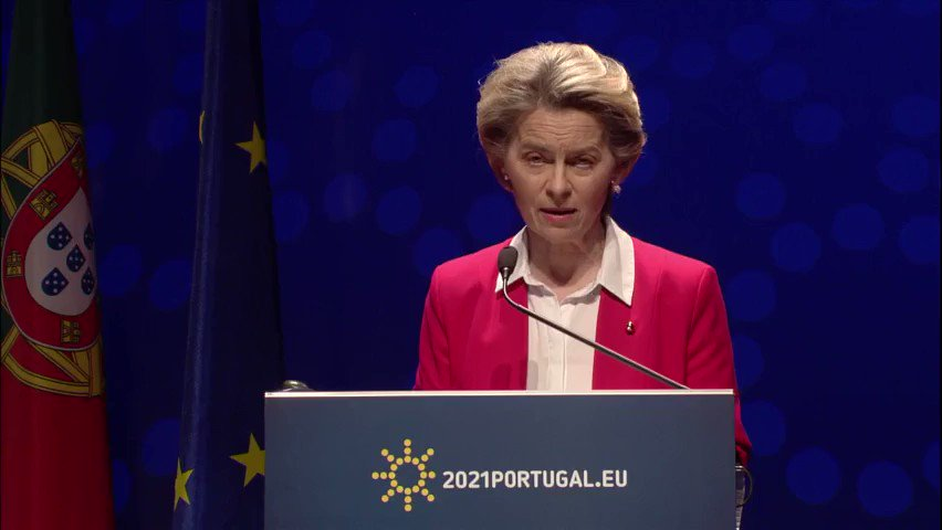 """CEO of Pfizer (...) reassured me that all guaranteed doses of the first quarter will be delivered in the first quarter""  President @vonderleyen in Lisbon during the press conference @2021PortugalEU with PM @antoniocostapm on the priorities of #EU2021PT"