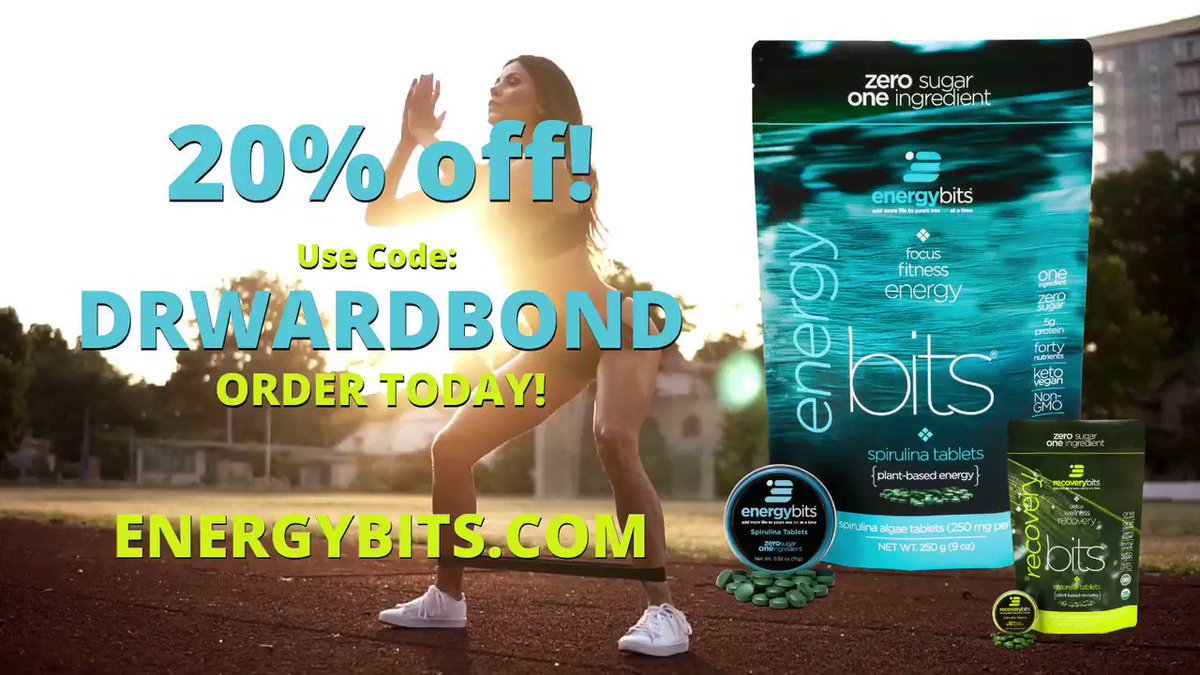 ENERGY & RECOVERY for your WORKOUT! @ENERGYbits Spirulina & Chlorella are EXACTLY what you need! Powerful Green Foods in tablet form! Use Code: DRWARDBOND at  for 20% off! #preworkout #postworkout #fitness #career