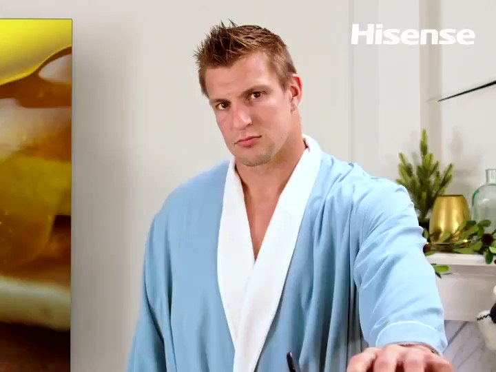 Oddly satisfying, isn't it? The tight end with the finest tight end in America, carbo-loading before this week's playoff game, in front of a glorious Hisense Quantum Dot ULED TV. Upgrade to a Hisense TV with a billion+ colors and Dolby Vision HDR. #HisenseUpgradeSeason