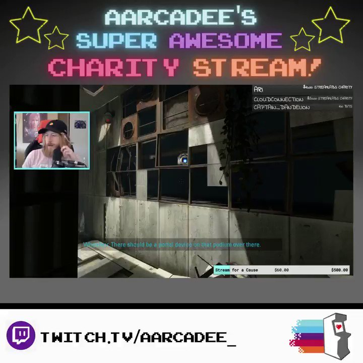 Portal 2 is a thrilling adventure of love and potatoes, but it gets even better when someone plays it for charity! Stop by @aarcadee's stream tonight while you still have the chance!  #charity #streamforacause #nonprofit #portal2