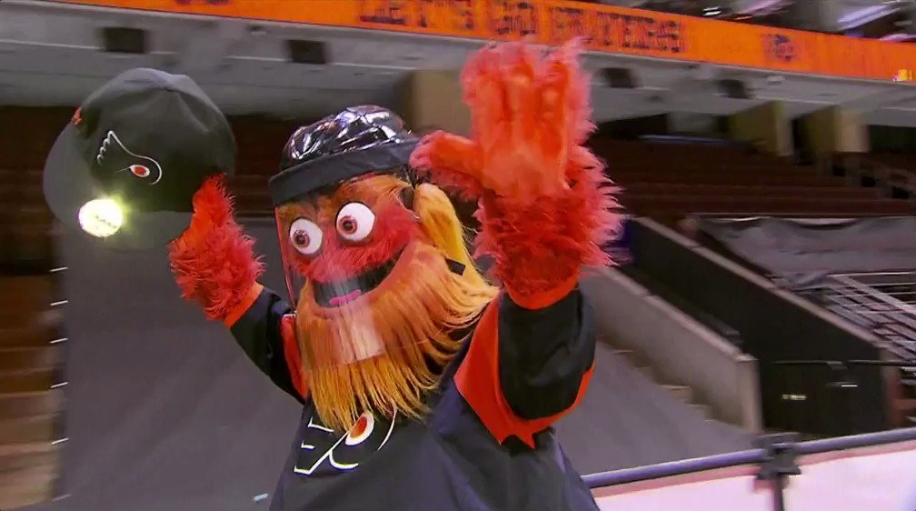 don't worry, everyone. @GrittyNHL came prepared.   #AnytimeAnywhere | #PITvsPHI