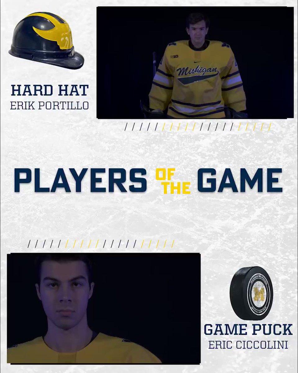 ℙ𝕝𝕒𝕪𝕖𝕣𝕤 𝕠𝕗 𝕥𝕙𝕖 𝔾𝕒𝕞𝕖  Hard Hat: Erik Portillo Game Puck: Eric Ciccolini  #GoBlue〽️