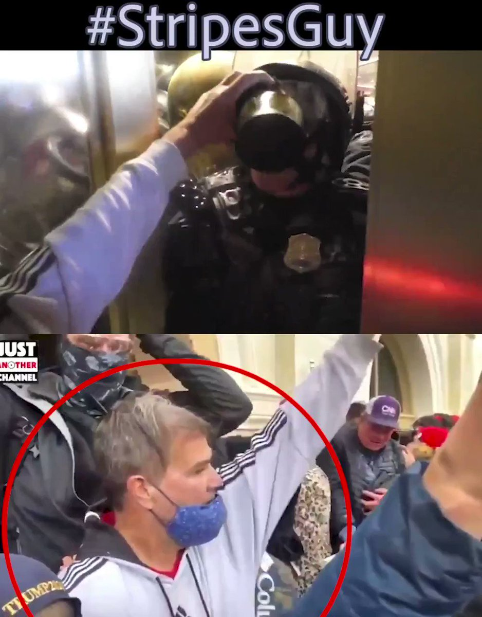 "Hey guys - can we identify this guy in stripes who assaulted Officer Daniel Hodges?   Officer Hodges said the guy was ""practically foaming at the mouth.""   The coward ripped Officer Hodges mask off, took his baton, and beat him with it..."