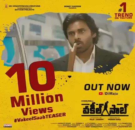 10 Million+ Views 🔥🔥  Trending at #1 on @YoutubeIndia  Powerstar @PawanKalyan's #VakeelSaabTeaser Out Now ->   #SriramVenu @shrutihaasan @i_nivethathomas @yoursanjali @AnanyaNagalla @SVC_official @BayViewProjOffl @MusicThaman #VakeelSaabTEASER
