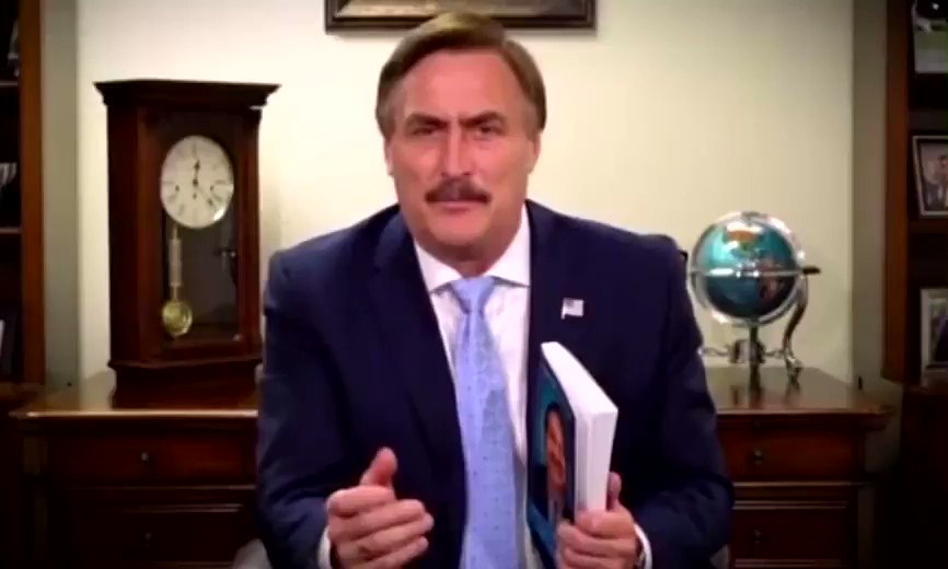 If you haven't seen this ACTUAL ad that #MyInsurrection's #MikeLindell produced about a book he actually wrote, watch this. I promise you a few laughs until you realize he was in the Oval today. When parody is eclipsed by real life.