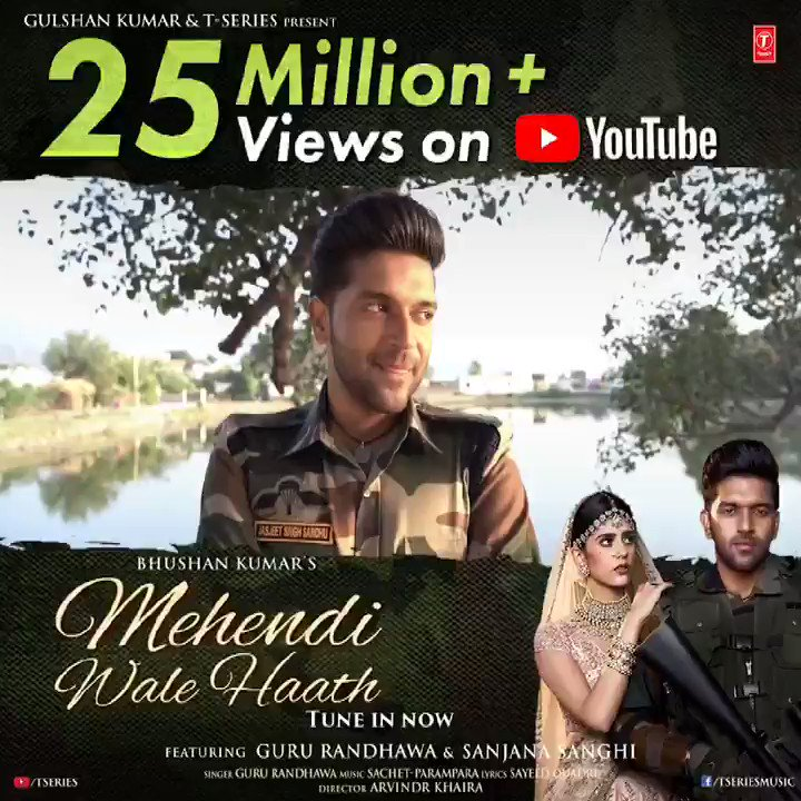 Your love for #MehendiWaleHaath has made it cross 25M views on YouTube! Wow! Keep celebrating the love that's infinite and out of this world. Thank you one and all. Tune in now:   #BhushanKumar @GuruOfficial @sanjanasanghi96 @SachetParampara @sachet_tandon