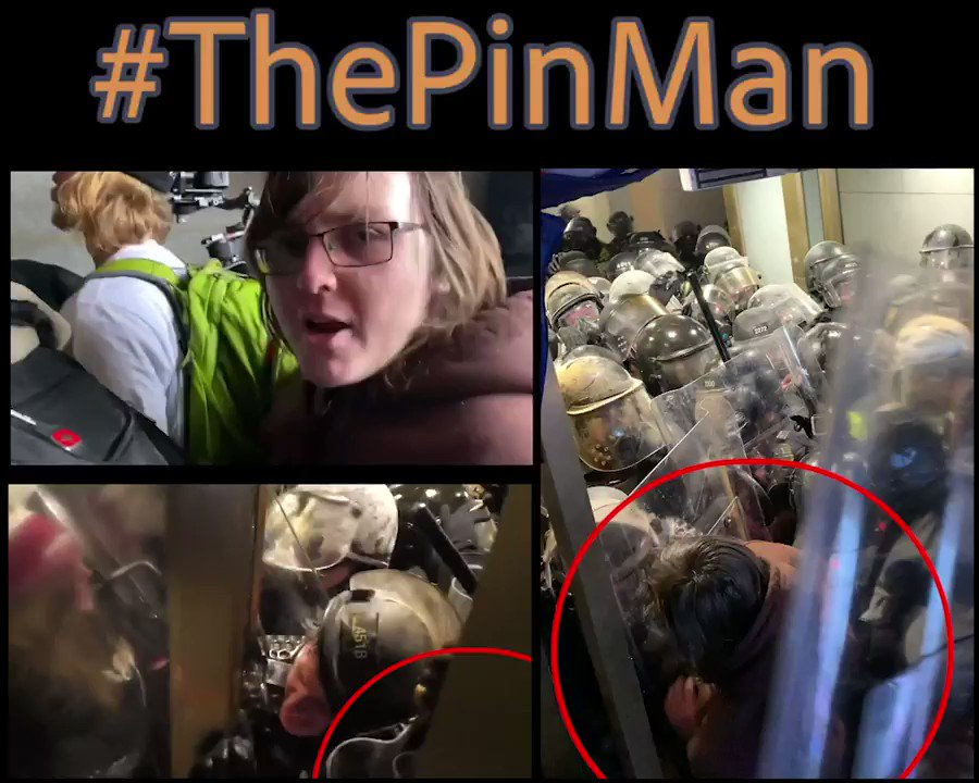 #ThePinMan assaulted and used a clear police shield to pin @DCPoliceDept Officer Daniel Hodges in a door jam. If you know this person call the FBI's Tipline at 1-800-CALL-FBI (1-800-225-5324) @FBIWFO #SeditionVids