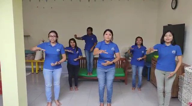 #National #song of #Indonesia in #signlanguage: today's online teaching at kolewa's #shelterhome for over 70 #deaf #children who can't go to school due to the #Corona #lockdown #Bali #education #ngo #charity #teamspirit #CBF #ANBI