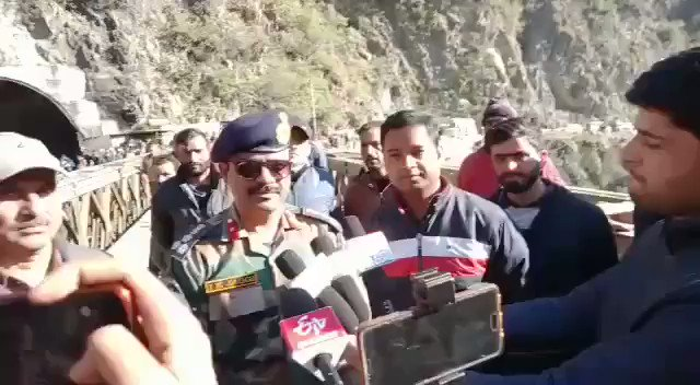 Watch* @KNSKashmir Ramban : First trial completed on Bailey Bridge at Kale Morh.  #Chief Engineer BRO, Brigadier IK Jaggi Talking to media #KNS correspondent Banihal