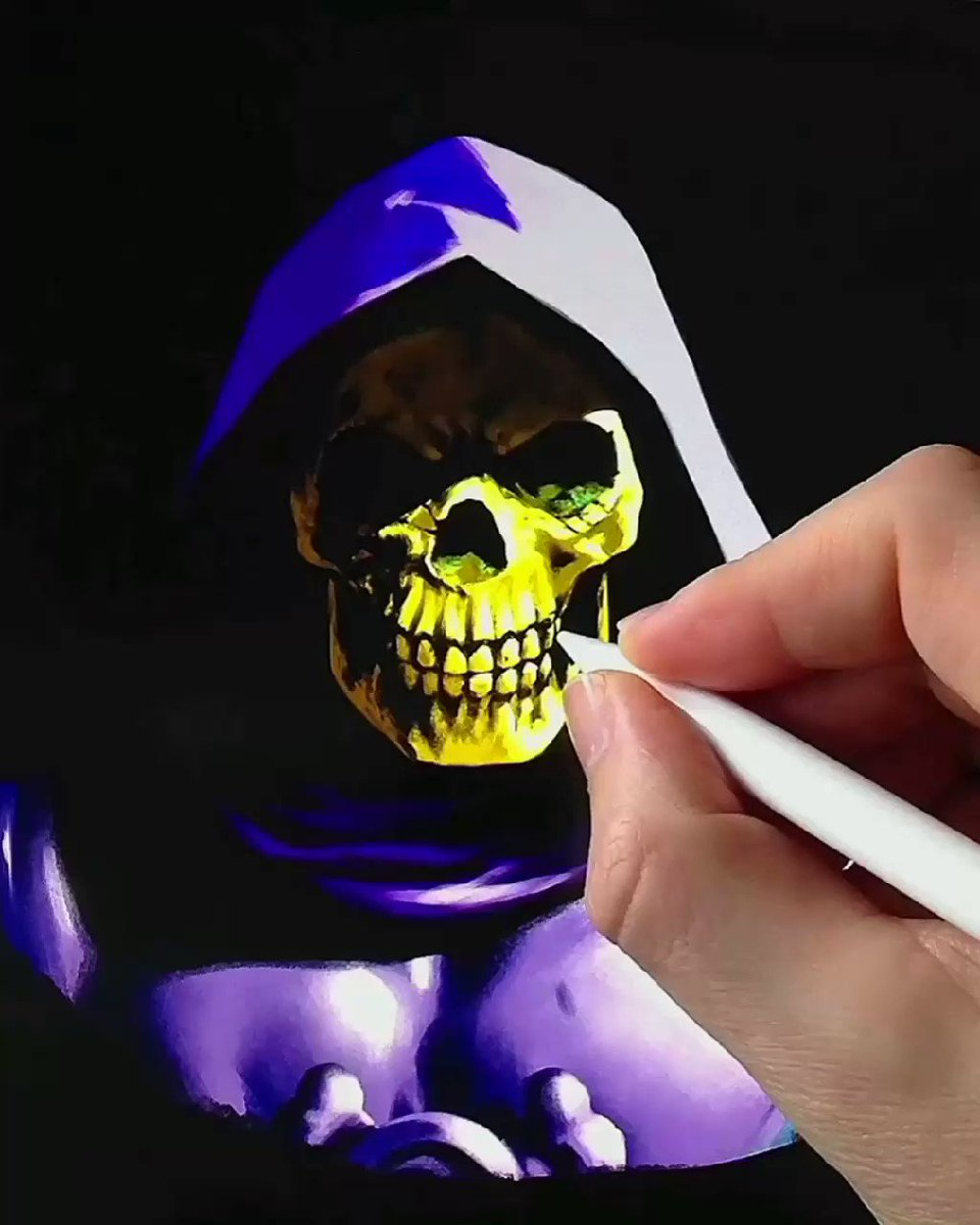 💀 SKELETOR Full Process Video☠️ Drawn and painted using @clipstudiopaint for Ipad Pro ✏️ #MOTU #skeletor #80s #digitalart #drawing #fantasy #timelapse