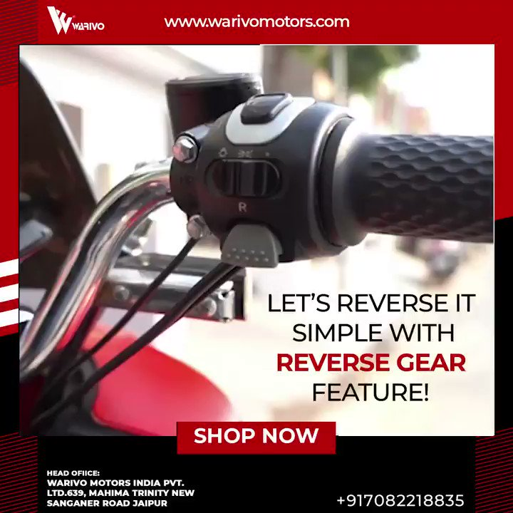 Forget about the struggle while reversing your Bikes through your legs. Let's reverse it Simple! Warivo E-bikes comes with an astonishing reverse gear feature to make your backward movements easy.  Let's drive the Future.  +91 7082218835   #reversegear