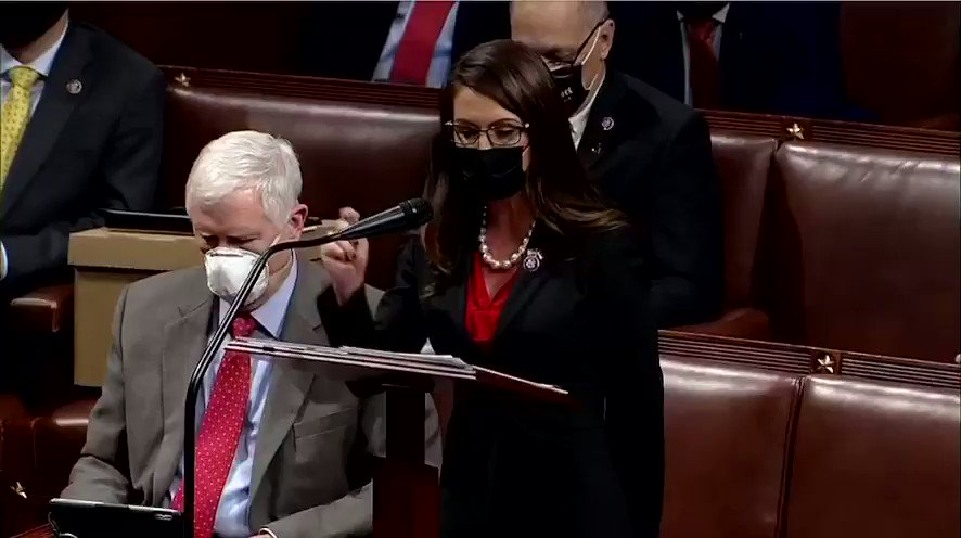 """""""Madame Speaker, I have constituents outside this building right now ..."""" Rep Boebert just before storming of the Capitol."""