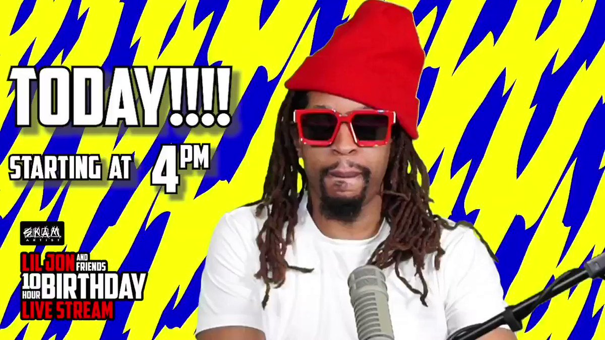 It's time to turn up! 🍾 Tune in today at 4pm ET to catch @LilJon's 10-hour birthday live stream on @Twitch. 🎉 The #KingOfCrunk will be performing alongside an all-star lineup of DJs including @djjespinosa, @djSantarosa, and @FOURCOLORZACK. 👑  Watch:
