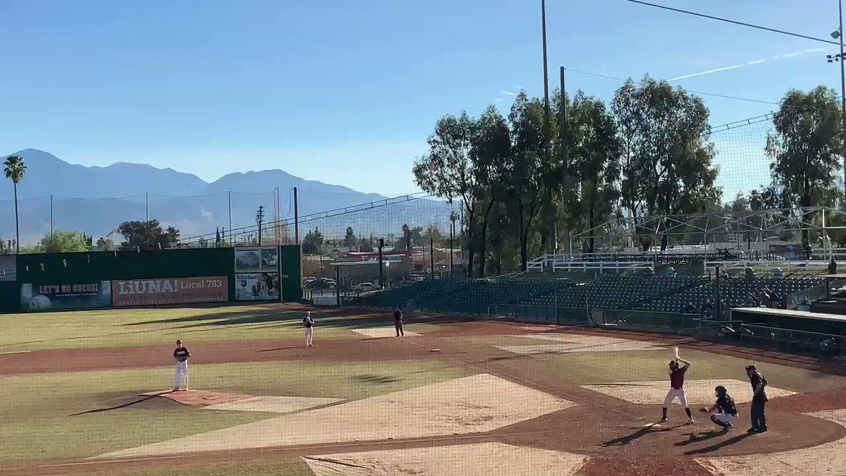 "Jacob Klinovsky 2B over RFer at San Manuel Stadium Claremont HS | Claremont, CA 2021 Grad Swing L / Throw R C, OF, 1B 6' 2"" | 190lbs @brgscoutball @theprospipeline @hpusharks #Baseball #Double"