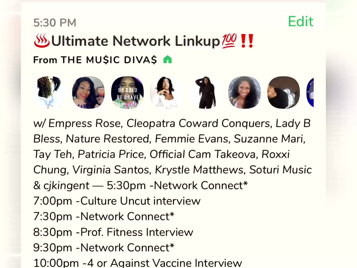 ♨️Ultimate Network Linkup💯‼️@iamladybbless, @Nature_Restored, @krushfitonline, @MrCamTakeova, @RoxxiChung, @Krystle_SC, @CjkingEnt, and The Mu$ic Diva$. Today, Jan 16 at 5:30 PM EST on @joinclubhouse. Join us!