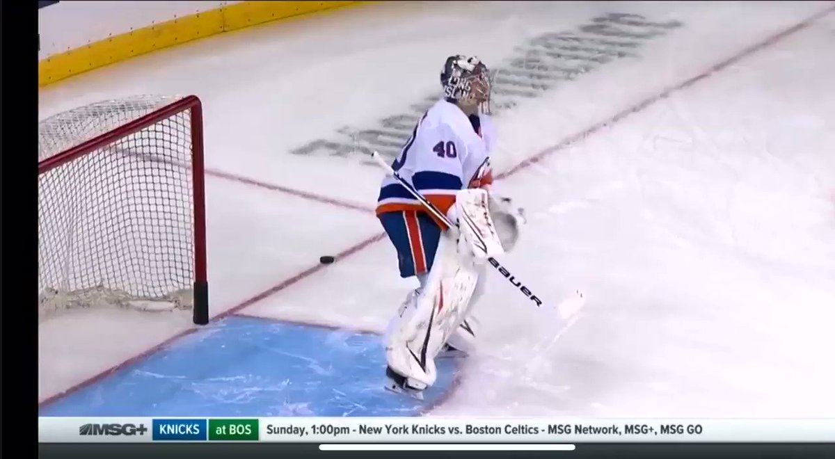 Hey, players who think it's ok to wire pucks at your goalie's head in warm-ups. It's not and you're being stupid. Stop it. #Isles