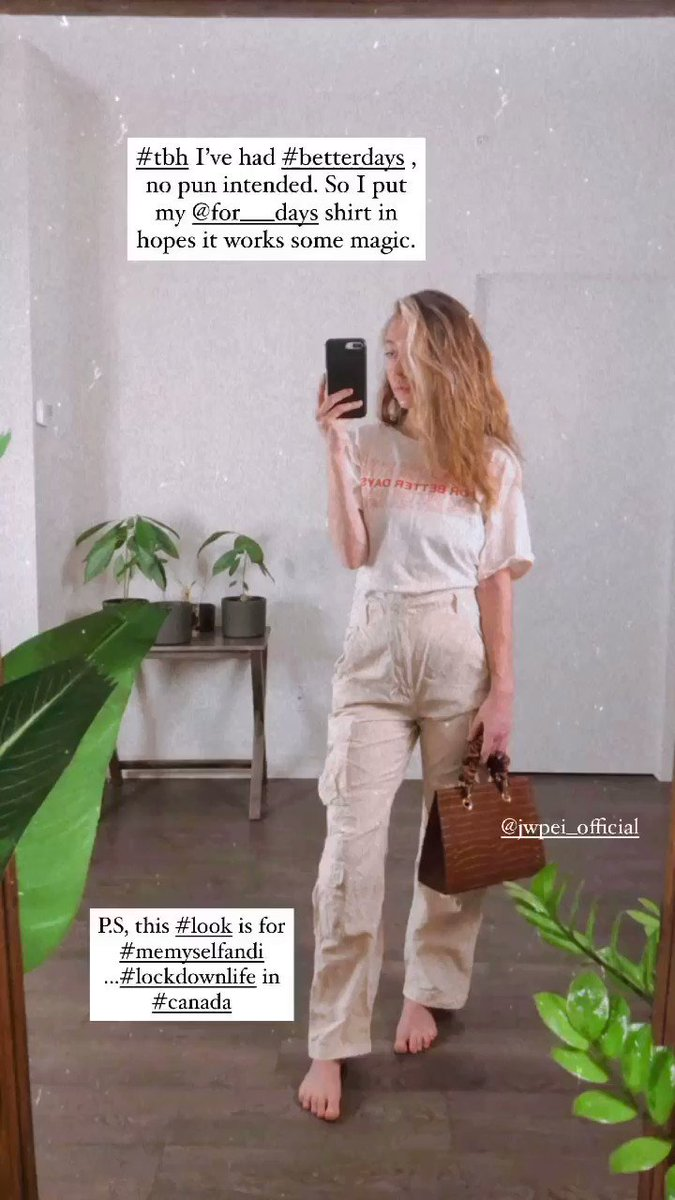 @instagram #Repost wearing @for___days in hopes of #BetterDays ♻️🙏🏽💚 #Canada #lockdownontario  #Vegan purse by @jwpei_official   #beautiful #screenshotsaturday #Sustainability #fashion #BeKind #SeaYouGlow #sustainablefashion #2021Wishes #PlantPower #model
