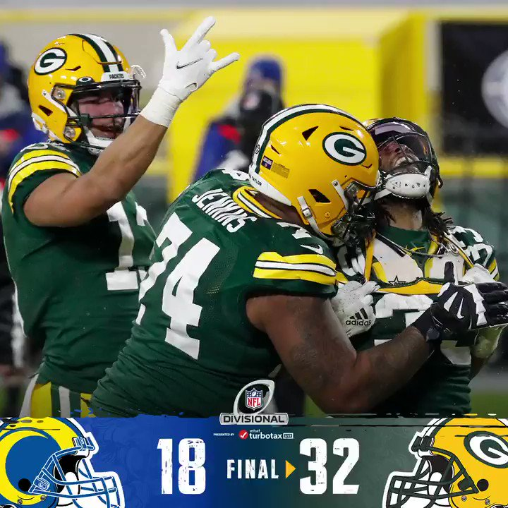 PACKERS WIN 32-18 over @RamsNFL and move on to the #NFCChampionship at @LambeauField ‼️   #GoPackGo  #LARams  #NFL #NFLDivisional 🏈
