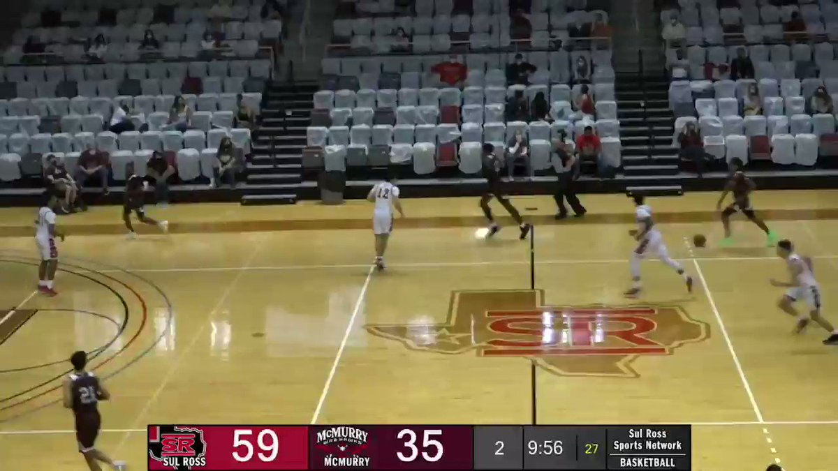 """""""THAT'S 1437 FOR TRISTEN LICON!""""  Tristen Licon becomes the #2 all-time scorer in Sul Ross history, passing former teammate Caleb Thomasson, on a steal and layup against the McMurry War Hawks on Saturday at the Gallego Center.  #SRSU #ASChoops #d3hoops"""