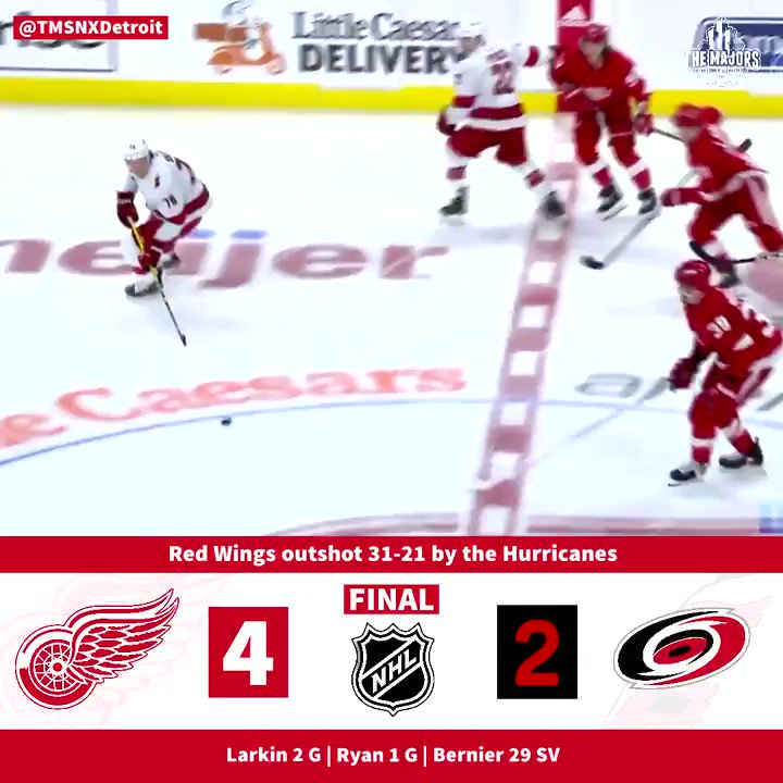 🚨 Dylan Larkin had a big night tonight as the Red Wings earned their first win of the season via a 4-2 win over the Hurricanes.   #RedWings | #LGRW | #NHL