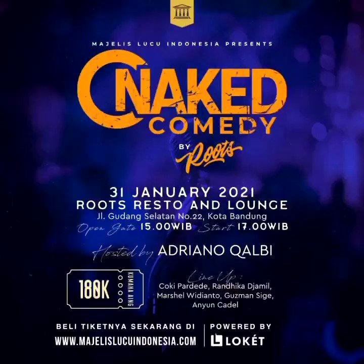 Tersisa sedikit lagi!  Nih Ajakan dari Bapak Podcast Indonesia @adrianoqalbi yang akan memandu Naked Comedy Bandung!  31 Januari 2021 Pukul 17.00 Di @roots_bdg   Beli tiketnya di