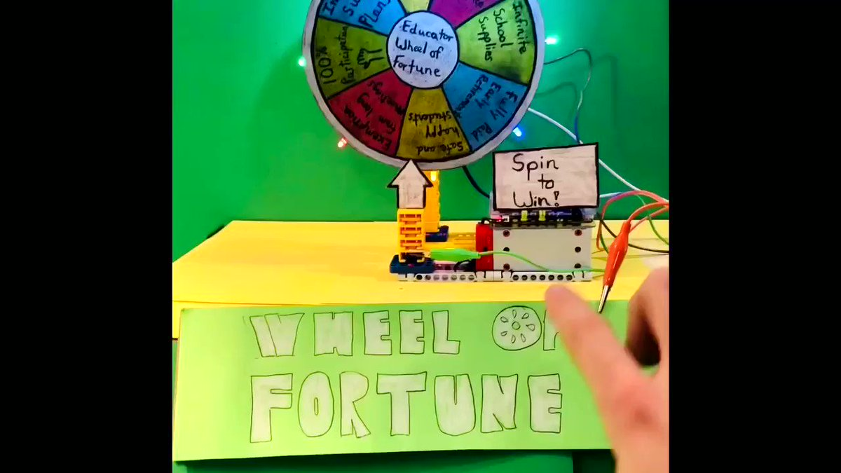 Educator 👩🏫 👨🏫 Wheel of Fortune for teacher #joy ! Can you solve the puzzle? Where would you want the wheel to land?   Made w/ @makeymakey for interactive game show sounds, @ubtechedu robotics, & @chibitronics for LEDs!   #makers #maker #teacher #teacherlife #stemed #makerspace