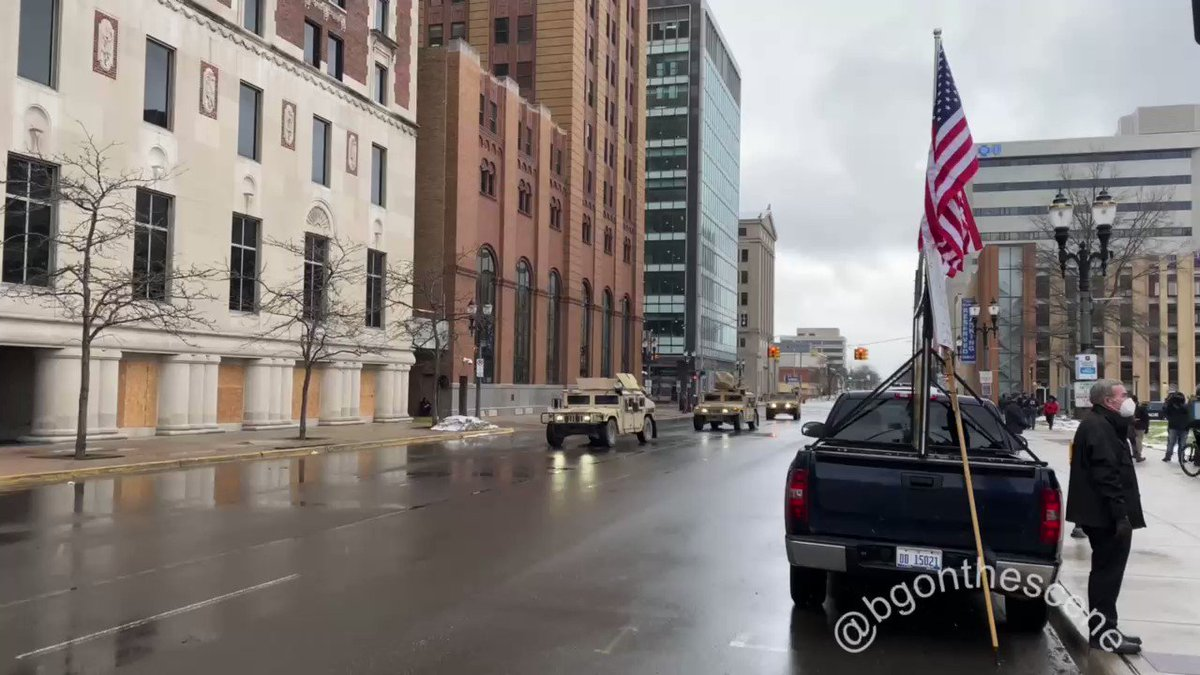Replying to @BGOnTheScene: Humvees roll down Capitol Avenue in downtown Lansing #Lansing #Michigan #NationalGuard #Capitol