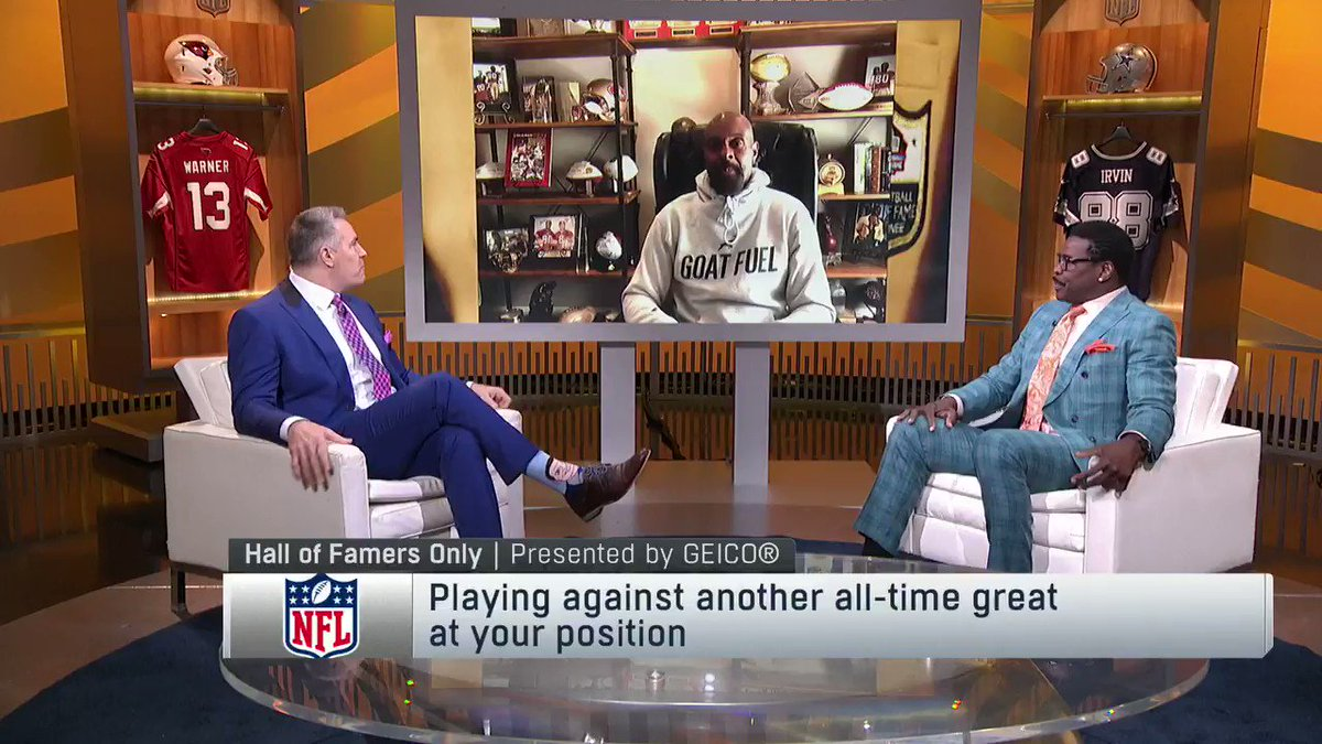 """""""I knew exactly what he was doing. How many catches, yards, touchdowns, all of that""""  The 🐐 @JerryRice and @michaelirvin88 talk about their battles on the field 🔥"""