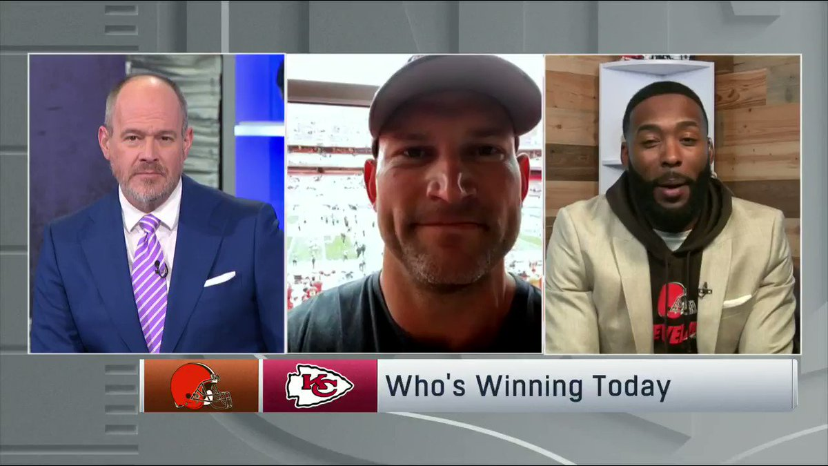 We brought @joethomas73 and @Hawk back to make their #CLEvsKC picks...   Joe is already in victory formation at the stadium taking a knee 😂