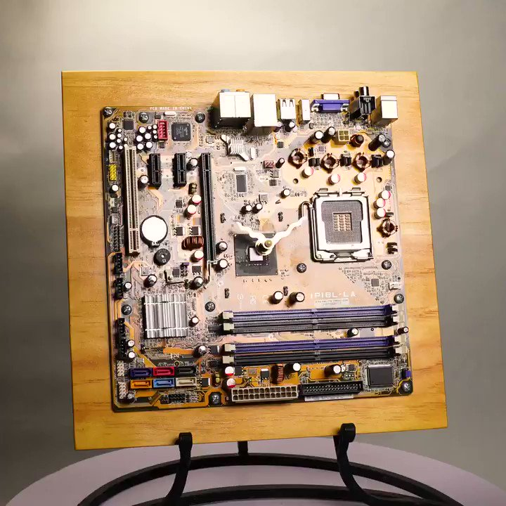 Repurposed, PC, Mother Board, CLOCK, Time Piece, Unique, Nerd, Wall Art, Metal, Home Decor, Computer, Parts, Electronic, Natural. Wood      #Clock #Mother #Board #PCB #PC