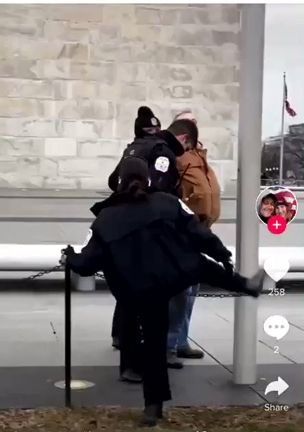 """Watch this video as US Park Police arrest someone from the  mob for breaching barriers. Listen to the way they react to these police officers. Chilling. """"F**n pigs""""...""""wait till we come after you.."""""""