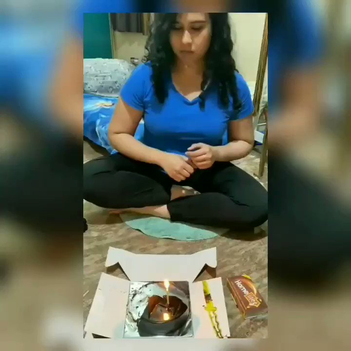 @VidyutJammwal  Thank you once again for your special wish.. So I tried blowing out the candle in your style 🙈😍 #itrainlikevidyutjammwal
