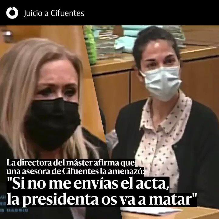 """La directora del máster ratifica ante el tribunal que una asesora de Cifuentes la amenazó: """"Si no me envías el acta la presidenta os va a matar"""""""