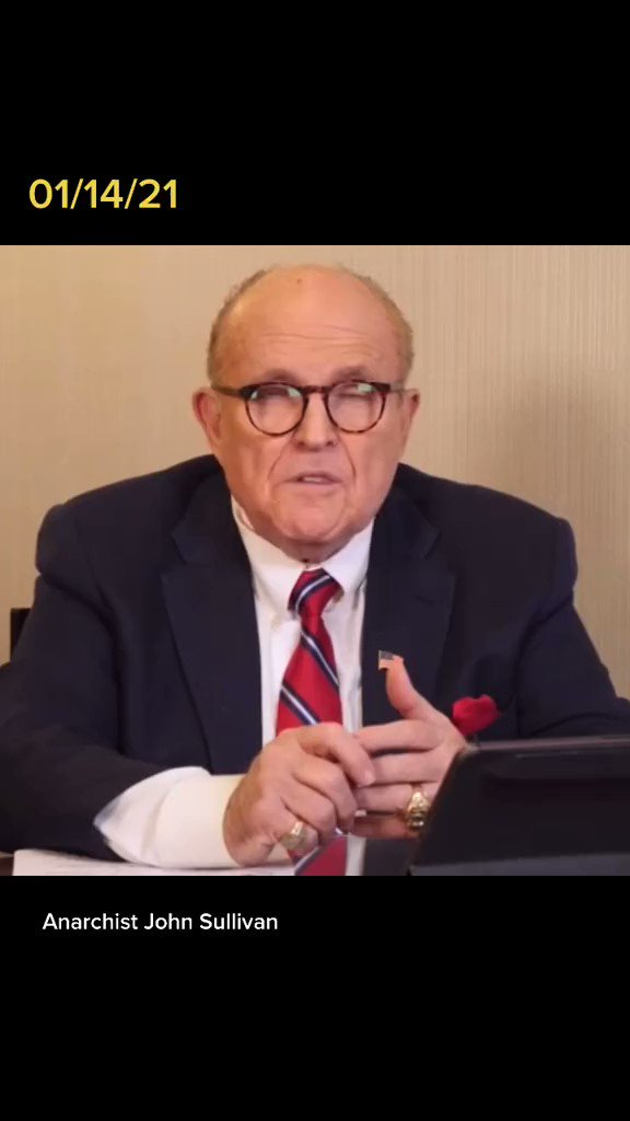 """Rudy Giuliani is the worst snake I have ever seen. Even the rioters screamed """"We are not ANTIFA"""".  All of the rioters except one or two were rednecks but this piece of shit who call for """"Trial by Combat"""" now tries to absurdly blame #BlackLivesMatter   #AfterTrump Giuliani in jail"""