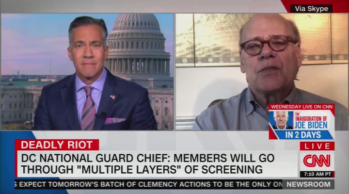 """.@RepCohen on his concerns w/ the National Guard securing the Inauguration: """"The [National] Guard is 90 some-odd percent male; and only about 20 percent of white males voted for Biden … there are probably not more than 25% of the people there protecting us that voted for Biden"""""""