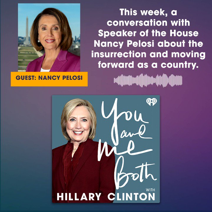 "I had a no-holds-barred conversation with @SpeakerPelosi about her experience of the Capitol insurrection and what comes next for our country.   Listen to a special edition of ""You And Me Both"" wherever you get your podcasts."