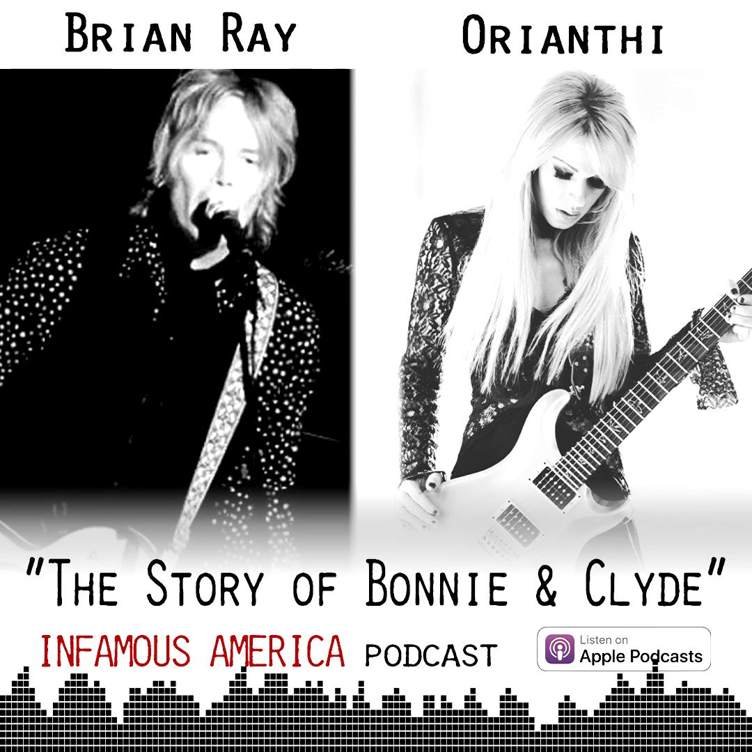"THE PREMIERE! Huge thanks to @brianrayguitar and @orianthi for an incredible theme song for ""Bonnie & Clyde"" on the INFAMOUS AMERICA podcast. Subscribe on @ApplePodcasts at  and buy the song at"