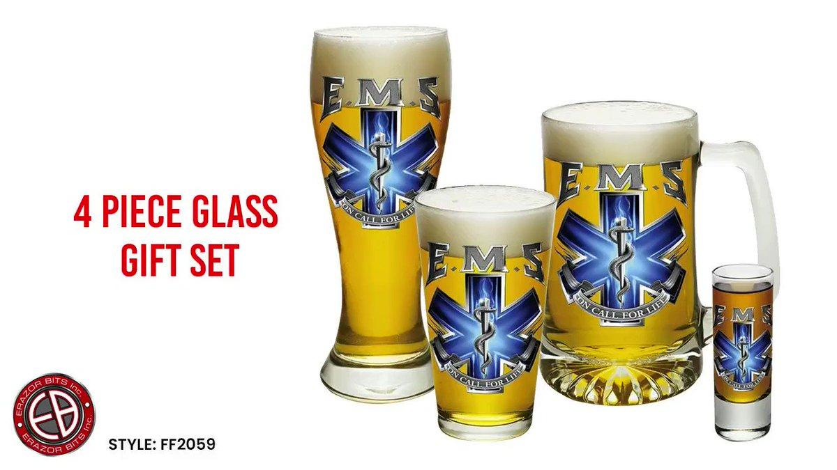 EMS On Call For Life 4 Piece Glass Set Gift Set by ShopErazorBits  Buy Now:   #glassgift #glassset #firstresponders #firstrespondersfirst #firstrespondersday #firefighter #firefighterfamilies #firefighters #policeofficer #ems #emslife #tshirts #sweatshirts