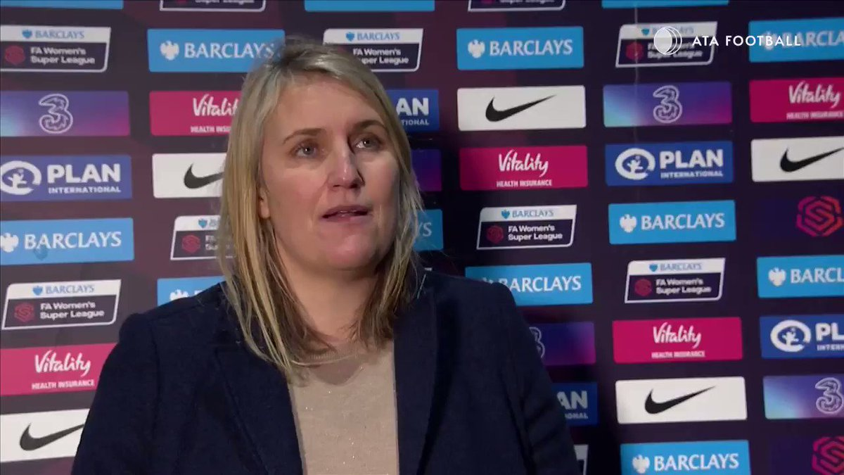 """What would you want to improve from the performance today?""   ""Being more clinical""   🔵 With @ChelseaFCW now on🔝of the #BarclaysFAWSL table, manager @emmahayes1 is determined to keep them there. 🔵"