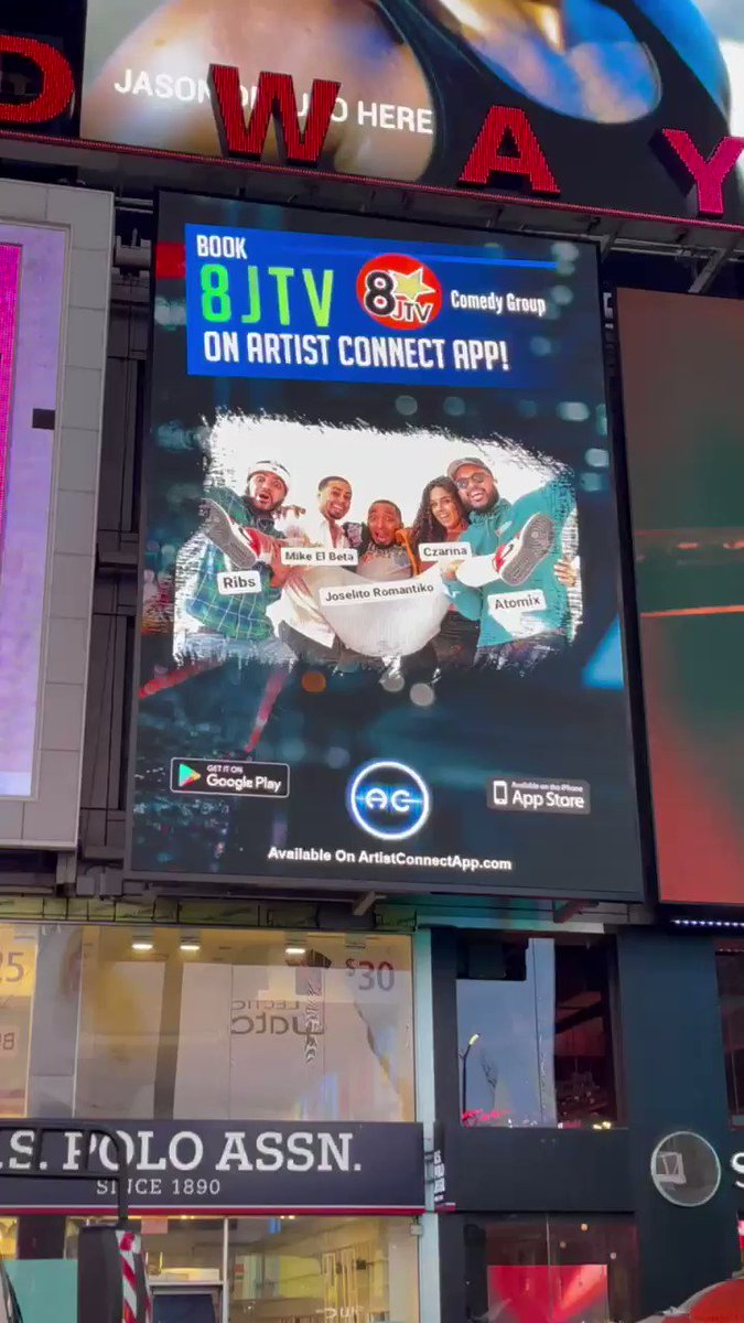 We're on a billboard in #timessquare thank you @Artist_Connect_  for making this happen! #Team8JTV