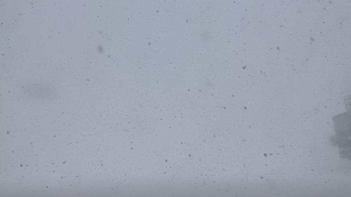 こんにちは✈AM9:08時点での突風が約25m/sの秋田空港をご覧ください☃#秋田空港#吹雪#ホワイトアウト
