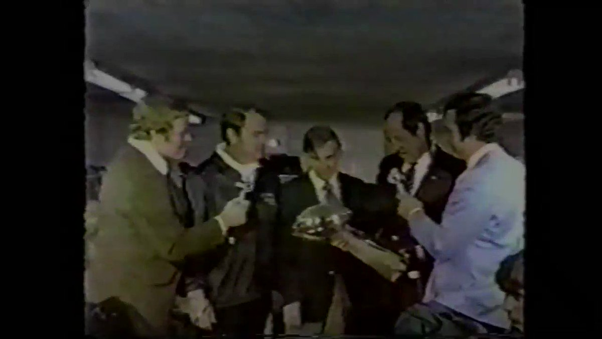 🏆 45 years ago today, Pete Rozelle awarded the Lombardi Trophy to Dan Rooney & the Rooney family for the 2nd year in a row following the Steelers 21-17 victory over the Cowboys... #HereWeGo #SuperBowlX